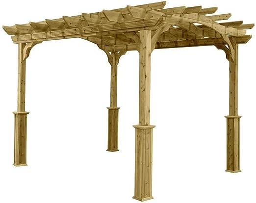 Jardín Pérgola 10 pies x 12 pies, fabricado de madera natural de ...