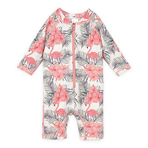 YOBAAF Baby Swimsuit/Long Sleeve Rash Guard UPF 50+ (6-12M, Flamingo) Baby Infant Swimsuit Bathing Suit