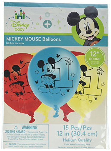 1 Latex - Mickey Mouse 1st Birthday 'Fun to Be One' Latex Balloons (15ct)