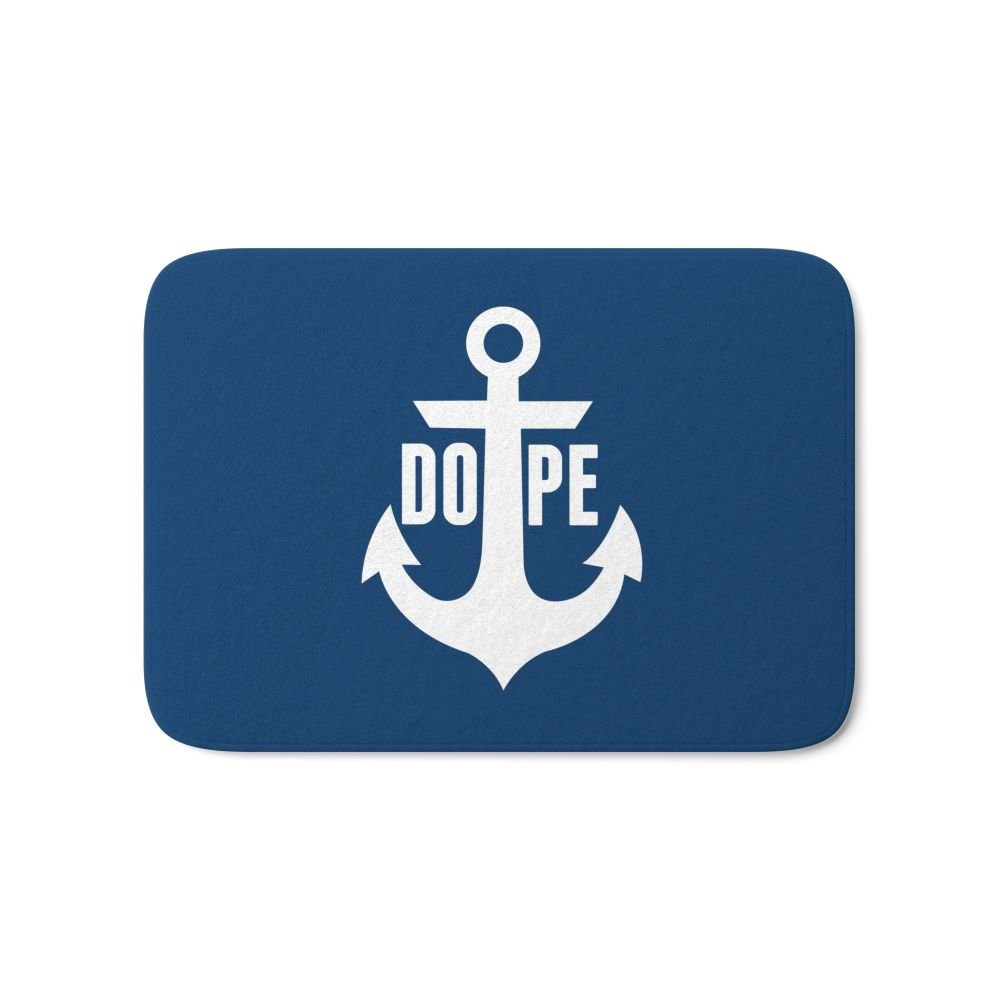"Society6 Nautical Anchor Cool Dope Navy Blue White Bath Mat 17"" x 24"""