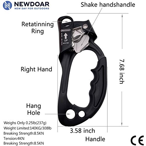 NewDoar Hand Ascender Rock Climbing Tree Arborist Rappelling Gear Equipment Rope Clamp for 8~12MM Rope