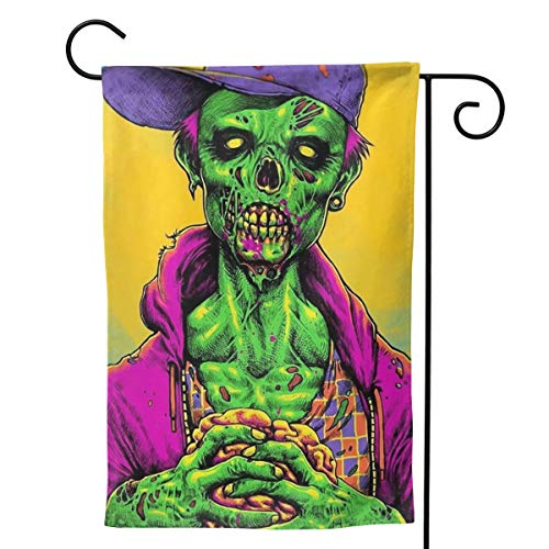 Label Love Zombie Halloween Makeup Big Iarge Jumbo for Party Themed Welcome Outdoor Outside Decorations Ornament Picks Garden Yard Decor Double Sided 28 X 40 Flag ()