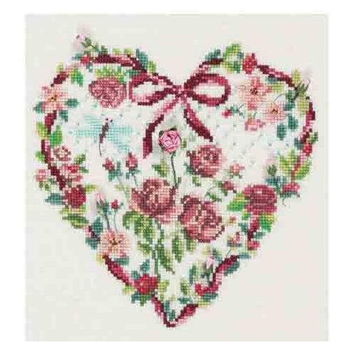 Dmc Cross Stitch Kits - DMC Cross Stitch Kit - Florals - Rose And Dragonfly Heart