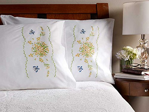 Bucilla Stamped Cross Stitch Pillow Cases (30 x 20-Inch), 46285 Daffodil -