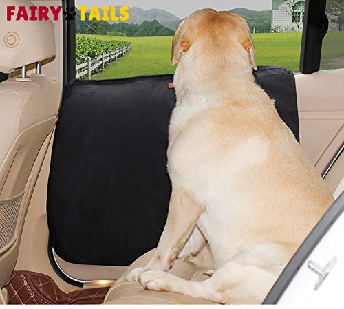 FAIRY TAILS Pet Car Door Protector Cover Easy Install Anti-Slip Drool Proof Waterproof Anti-Scratch 2 Pack Cars/Trucks/SUVs (Best Dog Guard For Car)