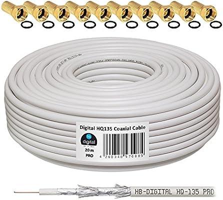 HB-Digital - Cable coaxial para DVB-S, S2 DVB-C y DVB-T(130 dB, HQ-135, Pro, apantallamiento cuádruple, BK, 10 Conectores F Dorados) 20 m Blanco: Amazon.es: Electrónica
