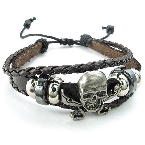 KONOV Leather Bracelet Braided Adjustable