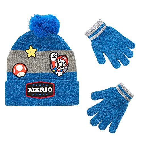 Bioworld Merchandising, Inc. Super Mario Boys Beanie Hat and Gloves Winter Set, Blue, Boys One Size -