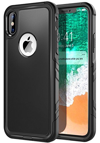 Comsoon iPhone X Case, [Support Wireless Charging]Heavy Duty Protection Shock Absorption [Slim] [Dual Layer] Hybrid Soft TPU Cover & Hard Outer PC Shell Tough Drop Cushion for iPhone (Shock Proof Hard Case)