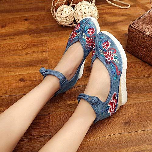 Cómodo De Estilo Moda color Suela 38 Eeayyygch Azul Tamaño Femeninos Aumentados Zapatos Bordados Lino Étnico Tendón Informal xqHSIP1