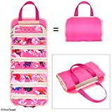 Fold out toy organizer storage bag for girls - Ideal for toys, accessories, collectibles, such as: Barbie, Disney, LOL, Shopkins - Also great for arts & crafts, cupcake decorations, make-up, etc.