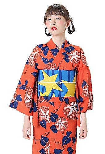 君主雷雨ダルセット[ KIMONOMACHI ] オリジナル 女性浴衣3点セット 「オレンジ 朝顔」 LL 浴衣+帯+下駄フリーサイズ_GT-F_