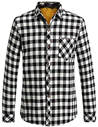 Men's Check Slim Fit Casual Long Sleeve Flannel Fleece Shirt