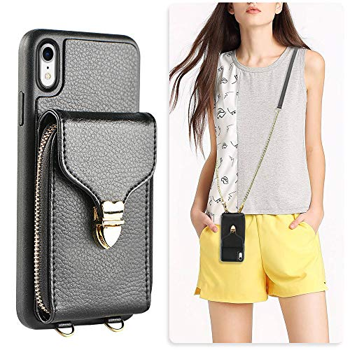 iPhone XR Wallet Case, JLFCH iPhone XR Zipper Wallet Leather Case with Card Slot Holder Zipper Closure Buckle Crossbody Purse Handbag Strap for Apple iPhone XR 6.1 inch - Black