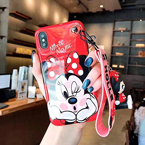 Twinlight Cute Stitch Pooh Pig Mickey Minnie Mouse Hello Kitty Phone Cases for iPhone 7 8 Plus XS MAX XR X Cartoon Case+ Toy +Strap (Style3, for iPhone 7) (Mickey Mouse Iphone 4s Case)