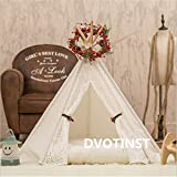 Dvotinst Newborn Photography Props, Mini WigwamTent Decoration for Baby Photography Shooting Studio Accessories (White-Lace, 50X50X60CM)