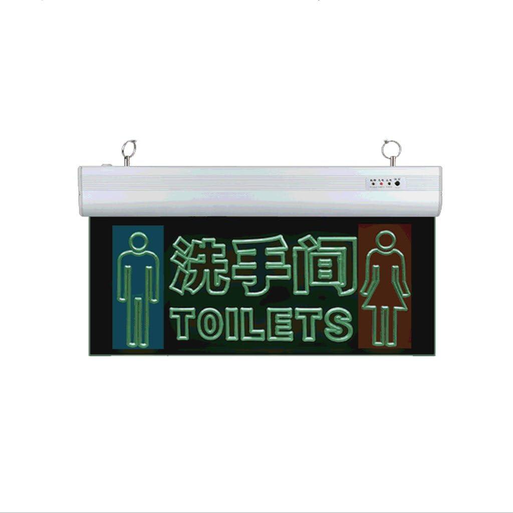 WC Letreros de las puertas Aseos Indicador luminoso de salida de seguridad LED Indicadores acr/ílicos transparentes Etiquetas para lavabo de hombres y mujeres Luz de emergencia contra incendios