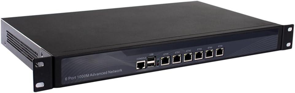 [HUNSN RS06],Firewall,VPN, 1U Rackmount, Network Security Appliance,with AES-NI,Router PC,Intel Celeron 3855u,(Gray),[6 Intel Lan/2USB2.0/1COM/1VGA],(Barebone System)