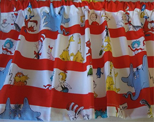 Valance Dr. Seuss Characters on White Background with Red Stripes Window Topper Treatment Curtain