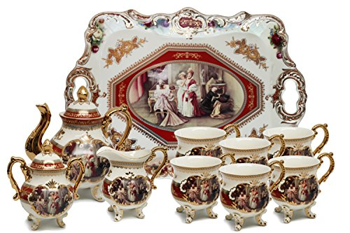 Royalty Porcelain 10-Piece Antique RED Vintage Dining Tea Cup Set, Service for 6, Handmade and Hand-Painted, 24K Gold Bone China (Hand Painted China Cup)