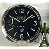 Panerai Luminous Silent Sweep Wall Clock Silver+Black