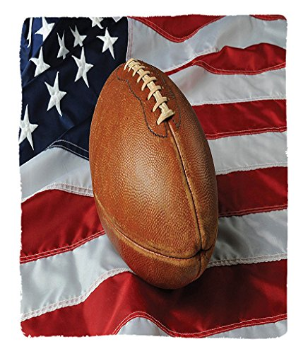Chaoran 1 Fleece Blanket on Amazon Super Silky Soft All Season Super Plush Sports Decor Collection Football Against a USA Flag on a Vertical Format Patriotism Nationalport Image Fabric Extra Red Navy by chaoran