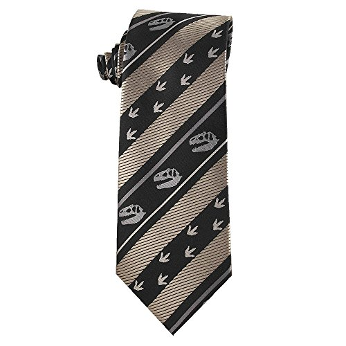 Dinosaur Lover Necktie with Dinosaur Skull and Fossil Tracks Stripe Tie (Black and White)