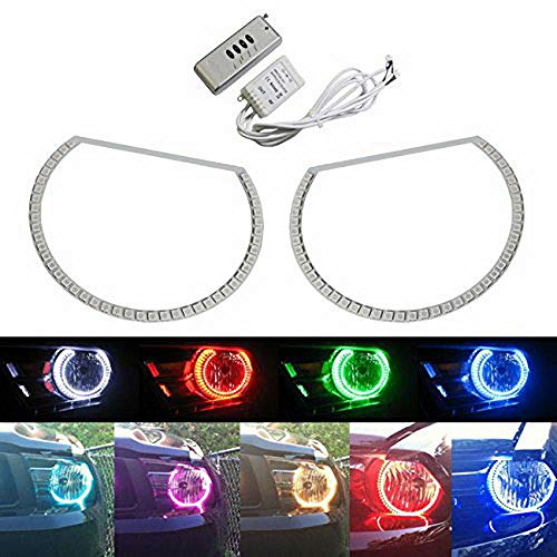 iJDMTOY 7-Color RGB LED Halo Ring Headlight Kit with Wireless Remote For 2005-2012 Ford Mustang