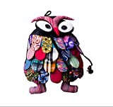 Ethnic Style Handmade Special Kids Backpack Pretty Owl Whimsical Backpack Black