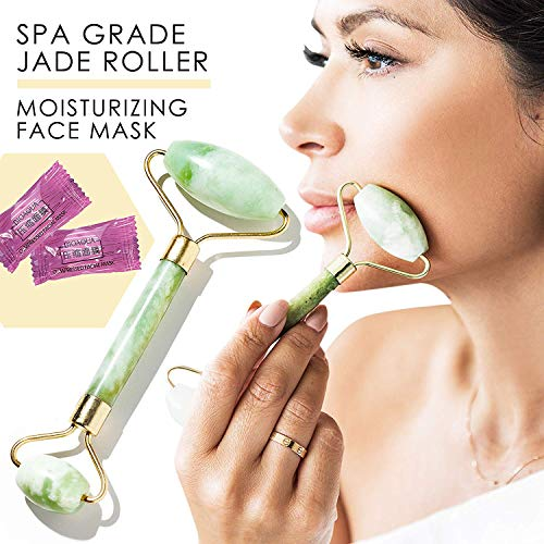 Jade Roller for Face+Compressed Sheet Mask Face Roller Skincare Products for Women Face Moisturizer Massage Stones Eye Puffiness Treatment Cotton Facial Mask Antiaging Skin Care Relaxation Gifts