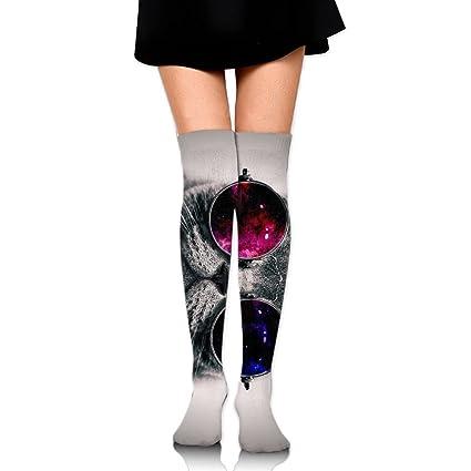 RobotDayUpUP Galaxy - Calcetines Largos para Mujer, Gatos y Gatos, Color Rojo y Negro