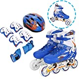Anfan Adjustable Inline Skate Set for Kid, Comfortable Roller Shoes Outdoors, Safe and Durable Training Rollerblades (US Stock) (Blue, US 2-4)