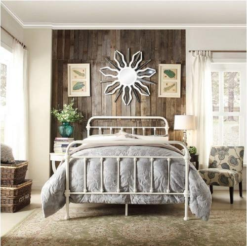 Victorian Antique Furniture - Inspire Q Giselle Antique White Graceful Lines Victorian Iron Metal Bed (Twin)