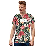 DishyKooker Women Men Fashion Flower Floral Print Casual 3D Short Sleeve T-Shirt