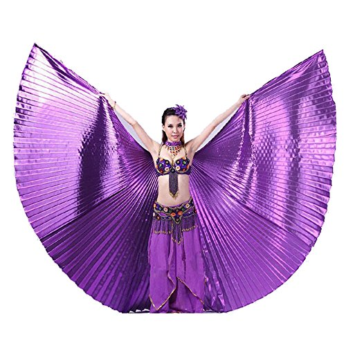 Costume Wings India Fairy (Doinshop Women Egypt Belly Dance Costume Bifurcate Isis Wings 360 Degrees No Sticks (Free Size,)