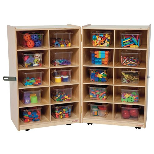 Wood Designs Kids Play Toy Book Plywood Organizer Wd16201 Folding Vertical Storage With (20) Translucent Trays by Wood Designs