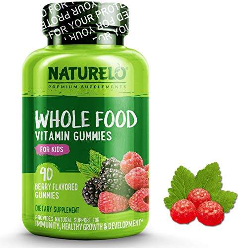 NATURELO Whole Food Vitamin Gummies for Kids - Best Chewable Gummy Multivitamin for Children - Organic Great Tasting Berry Flavor - Non-GMO - All Natural Vitamins, Minerals - 90 Vegan Gummies