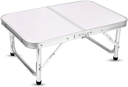 Yinmake - Mesa de camping plegable de aluminio, altura ajustable, 60 x 40,5 x 24/41,5 cm