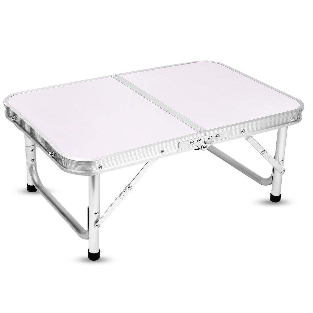 Yinmake Mini Aluminium faltbar Camping Tisch Laptop Bett Schreibtisch höhenverstellbar 60 x 40,5 x 24 41, 5 cm