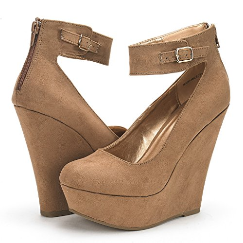Shoes Womens Nude Platform Rear Ankle Heel DREAM New height Wedge Ankle Closure Elegant PAIRS Zipper Strap Pumps xOwqaIwZ