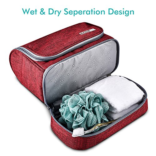 Toiletry Bag Hanging Travel Toiletry Organizer Kit with Hook and Handle Waterproof Cosmetic Bag Dop Kit for Men or Women (Wine Red) by NICEPACK (Image #3)