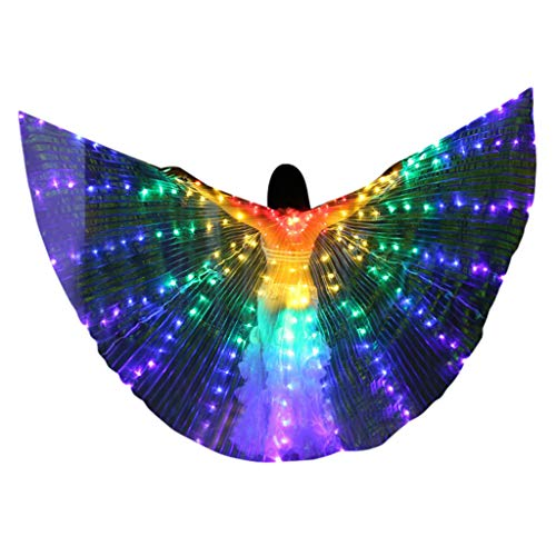 Flurries  LED Glow Angel Isis Wings - Belly Dance Costume Cloak - Neon Rainbow Butterfly Wings - Performance Clothing Cosplay Prop Carnival Halloween Shows - Light Up Stage (with Telescopic Sticks) -
