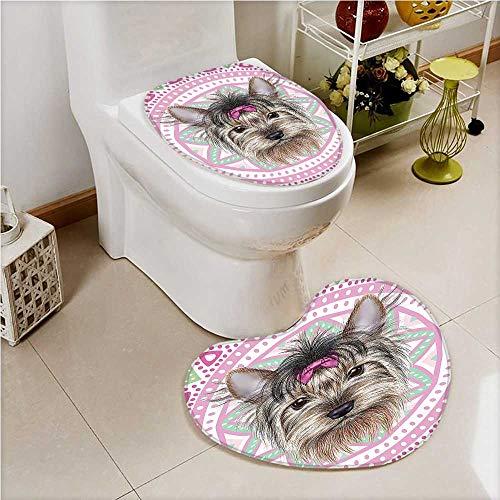 (aolankaili Non Slip Bathroom Heart Shaped Foot pad Yorkshire Terrier Hair Dog Pet Portrait Pink Tribal Bohemian Pink Non Slip Comfortable SND Soft)