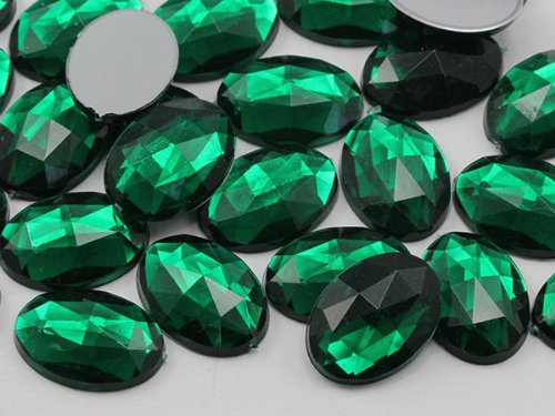 25x18mm Emerald H106 Flat Back Oval Acrylic Jewels Pro Grade - 20 Pieces