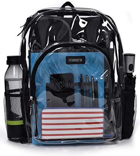 Heavy Duty Clear Backpack - Stadium Approved Transparent Design for Quick Access at Security Checkpoints. Adjustable Shoulder Straps, Dual Zippered Compartments and Mesh Side Pockets. (16