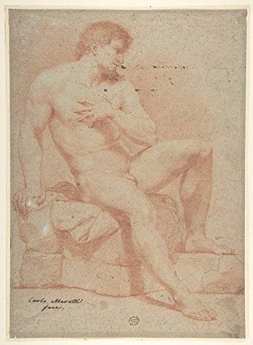 """Nude Male Figure Poster Print by Ascribed to Carlo Maratti (Italian Camerano 1625 """"1713 Rome) (18 x 24)"""