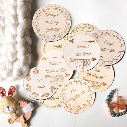 Baby Milestone Cards - Set of 13 Monthly Milestone Wooden Disks - Double-Sided Printing Milestone Blocks - Muslin Storage Bag - Customizable Birth Card - Ideal for Photos, Pregnancy, Baby Shower from L & M Home