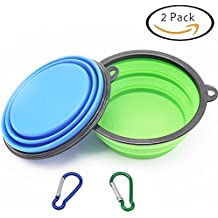 Large Size Collapsible Dog Bowl, Silicone Pet Travel Bowl for Dog Cat Food & Water, Foldable Expandable Cup Dish for Pet Cat Food Water Feeding Portable Travel Bowl Free Carabiner(L)