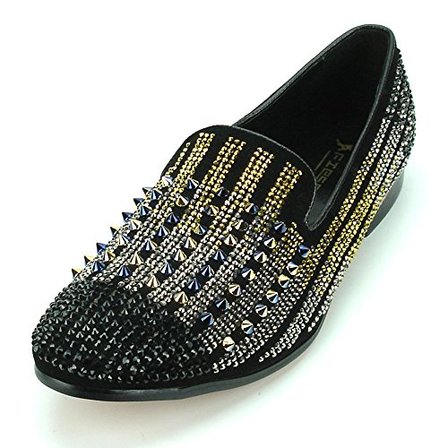 Fiesso by Aurelio Garcia FI-7147 Black Suede Black/Gold/Silver Rhinestones Studded Loafer