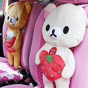 2-pack Rilakkuma Bear Car Seat Cover Plush Cushion Pillow